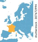 blue europe vector map with... | Shutterstock .eps vector #307672994