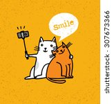 two cats making photo using... | Shutterstock .eps vector #307673366