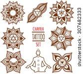 chakra set. henna tattoo.... | Shutterstock .eps vector #307682333