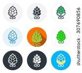 set of beer hop icons in... | Shutterstock .eps vector #307690856