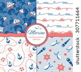 marine vector patterns set....