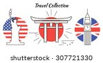 set of line travel icons with... | Shutterstock .eps vector #307721330