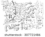 vector hand drawn arrows set... | Shutterstock .eps vector #307721486