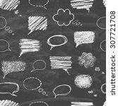 set of hand drawn doodle chalk... | Shutterstock .eps vector #307721708