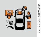 mechanics repair car engine... | Shutterstock .eps vector #307736633