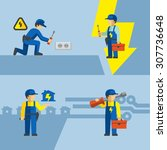 vector electrician worker with... | Shutterstock .eps vector #307736648