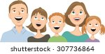 happy family consisting of... | Shutterstock .eps vector #307736864