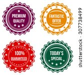 set of colorful round badges on ... | Shutterstock .eps vector #307738499