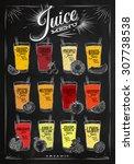 poster juice menu with glasses... | Shutterstock .eps vector #307738538
