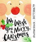 Poster Santa Lettering We Wish...