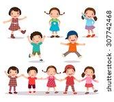 illustration of happy kids... | Shutterstock .eps vector #307742468