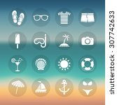 set of summer beach icons. | Shutterstock .eps vector #307742633