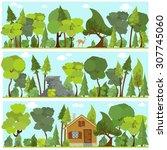 set of horizontal vector... | Shutterstock .eps vector #307745060