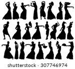 black silhouettes of female...   Shutterstock .eps vector #307746974