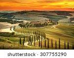 tuscany  rural sunset landscape.... | Shutterstock . vector #307755290