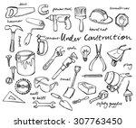 working construction tools... | Shutterstock .eps vector #307763450