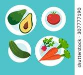 healthy food  vegetables.... | Shutterstock .eps vector #307777190