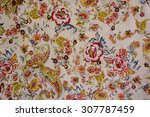 texture of vintage print fabric ... | Shutterstock . vector #307787459