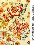 texture of vintage print fabric ... | Shutterstock . vector #307788683