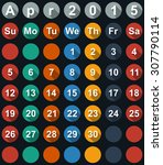 calendar april 2015 with flat... | Shutterstock . vector #307790114