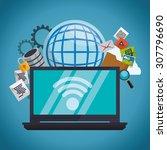 internet digital design  vector ... | Shutterstock .eps vector #307796690