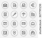 banking flat contour icons on... | Shutterstock .eps vector #307799150