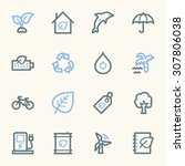 green ecology web icons set | Shutterstock .eps vector #307806038