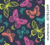 Stock vector vector butterflies pattern abstract seamless background 307811549
