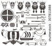 Set Viking Items. Skull  Horne...
