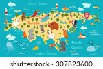 animals world map  eurasia.... | Shutterstock .eps vector #307823600