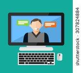 customer service assistance ... | Shutterstock .eps vector #307824884