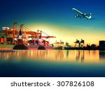 cargo plane flying above ship... | Shutterstock . vector #307826108