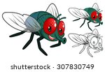 high quality detailed fly... | Shutterstock .eps vector #307830749