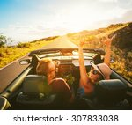 happy young carefree couple... | Shutterstock . vector #307833038
