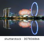 beautiful fireworks celebrating ... | Shutterstock . vector #307836866