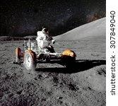 astronaut on lunar  moon ... | Shutterstock . vector #307849040