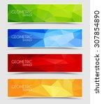 set of geometric polygonal... | Shutterstock .eps vector #307854890