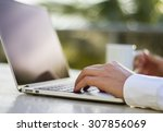 businessman working with laptop ... | Shutterstock . vector #307856069