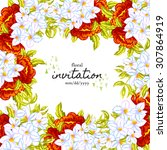 invitation with floral... | Shutterstock .eps vector #307864919