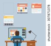 man working using his computer... | Shutterstock .eps vector #307871378