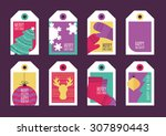 set of vector holiday gift tags.... | Shutterstock .eps vector #307890443
