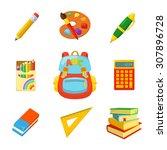 school bag and stuff. children...   Shutterstock .eps vector #307896728