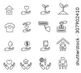 charity and donation line icons ... | Shutterstock .eps vector #307902410