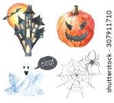watercolor halloween set.hand... | Shutterstock . vector #307911710