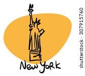new york usa statue of liberty. ...   Shutterstock .eps vector #307915760