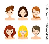 young women faces with various... | Shutterstock .eps vector #307922018