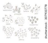 vector cartoon fruits and...   Shutterstock .eps vector #307933778