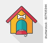 pet dog house flat icon with