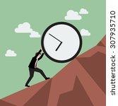 businessman pushing huge clock... | Shutterstock .eps vector #307935710