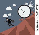 businessman running away from... | Shutterstock .eps vector #307935743
